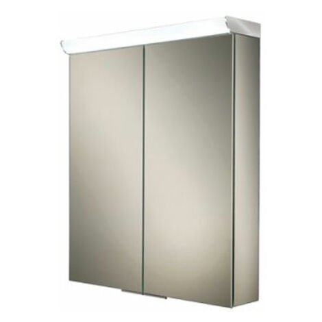 HiB Flare Aluminium Double door Illuminated Bathroom Cabinet 700mm H x 600mm W x 115/150mm D