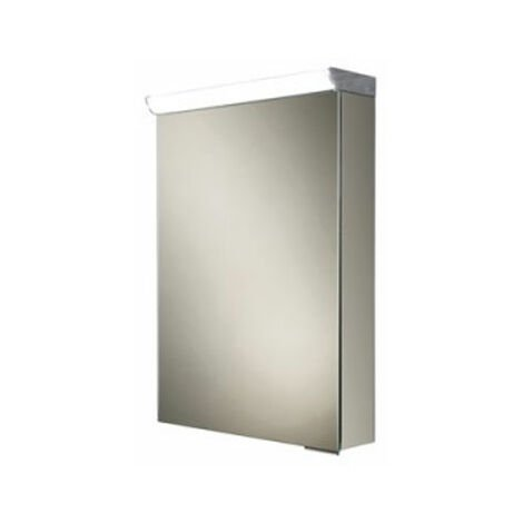 HiB Flux Aluminium Illuminated Bathroom Cabinet 600mm H x 400mm W x 115/150mm D