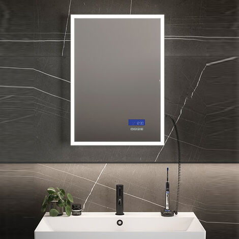 HiB Globe Plus 60 LED Bathroom Mirror 800mm H x 600mm W