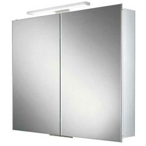 HiB Neutron Aluminium LED Double Door Bathroom Cabinet 700mm H x 600mm W x 125mm D