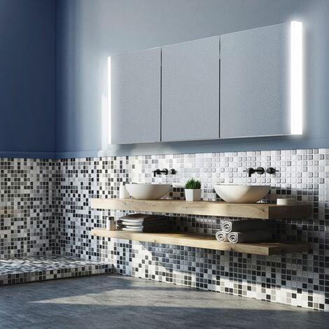 HiB Paragon 120 Aluminium LED Triple Door Bathroom Cabinet 700mm H x 1264mm W x 140mm D