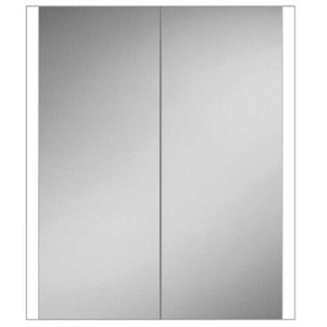 HiB Paragon 60 Aluminium LED Double Door Bathroom Cabinet 700mm H x 664mm W x 140mm D
