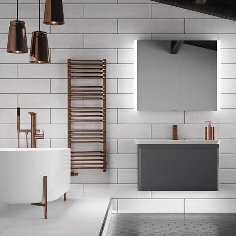 HiB Paragon 80 Aluminium LED Double Door Bathroom Cabinet 700mm H x 864mm W x 140mm D