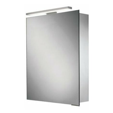 HiB Proton Aluminium LED Single Door Bathroom Cabinet 700mm/720mm H x 500mm W x 125mm D