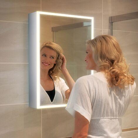 HiB Qubic 50 Aluminium LED Single Door Bathroom Cabinet 700mm H x 500mm W x 130mm D