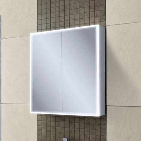 HiB Qubic 60 Aluminium LED Double Door Bathroom Cabinet 700mm H x 600mm W x 130mm D