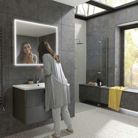 HiB Qubic 80 Aluminium LED Double Door Bathroom Cabinet 700mm H x 800mm W x 130mm D