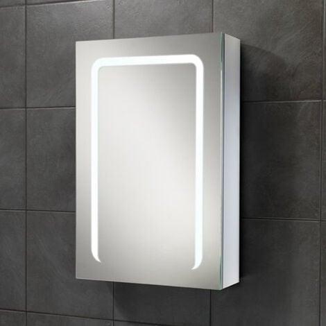 HiB Stratus 50 Aluminium LED Single Door Bathroom Cabinet 700mm H x 500mm W x 150mm D