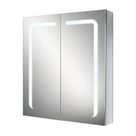 HiB Stratus 60 Aluminium LED Double Door Bathroom Cabinet 700mm H x 600mm W x 150mm D