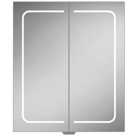 HiB Vapor 60 Aluminium LED Double Door Bathroom Cabinet 700mm H x 600mm W x 122mm D