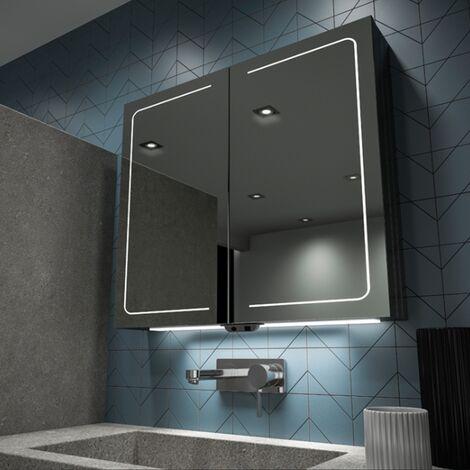 HiB Vapor 80 Aluminium LED Double Door Bathroom Cabinet 700mm H x 800mm W x 122mm D