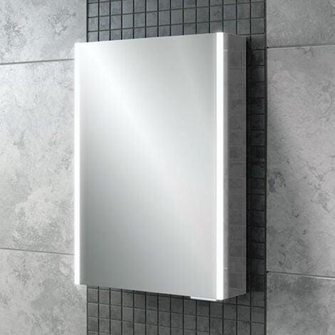 HiB Xenon 50 Aluminium Single Door with Vertical LED Bathroom Cabinet 700mm H x 505mm W x 130mm D