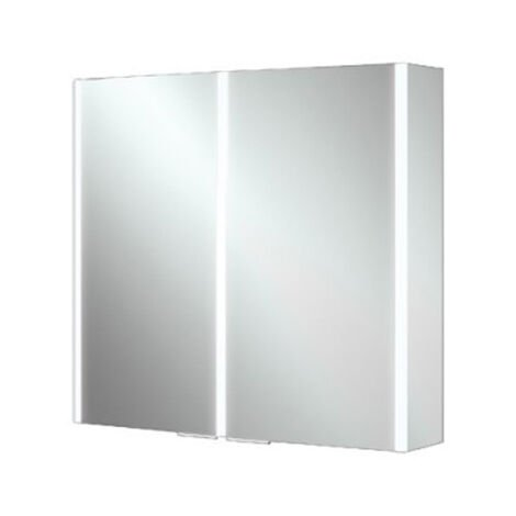 HiB Xenon 80 Aluminium Double Door Bathroom Cabinet with Vertical LED 700mm H x 820mm W x 130mm D