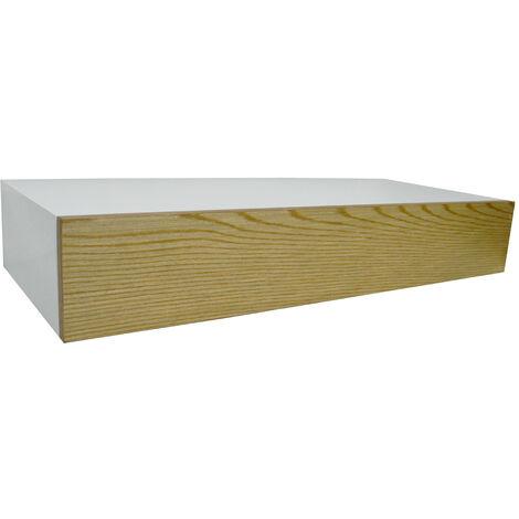 HIDDEN - 2ft / 60cm Floating Storage Shelf with Drawer - White / Ash