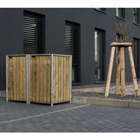 HIDE Hide Mülltonnenbox 140l Holz; 2er Box natur 2er Box