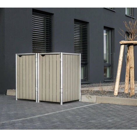 HIDE Hide Mülltonnenbox 140l Holz; 2er Box natur grau 2er Box