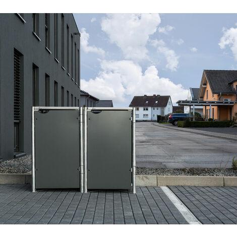 HIDE Hide Mülltonnenbox 140l Kunststoff; 2er Box grau 2er Box
