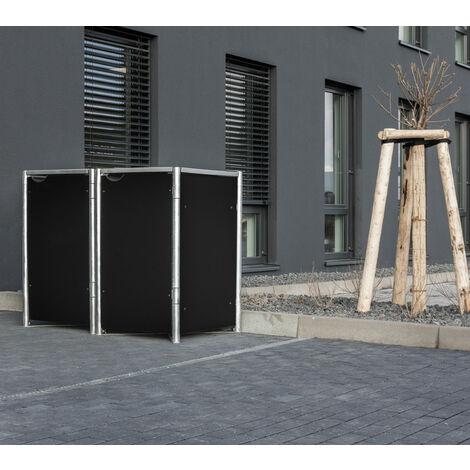 HIDE Hide Mülltonnenbox 140l Kunststoff; 2er Box schwarz 2er Box