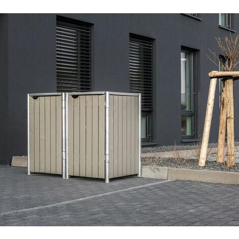HIDE Hide Mülltonnenbox 240l Holz; 2er Box natur grau 2er Box