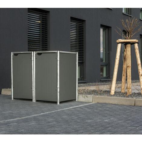 HIDE Hide Mülltonnenbox 240l Kunststoff; 2er Box grau 2er Box