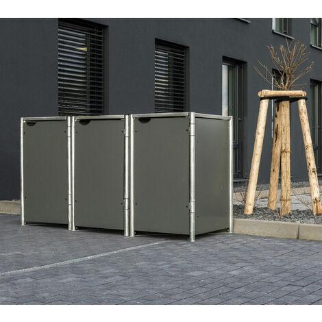 HIDE Hide Mülltonnenbox 240l Kunststoff; 3er Box grau 3er Box