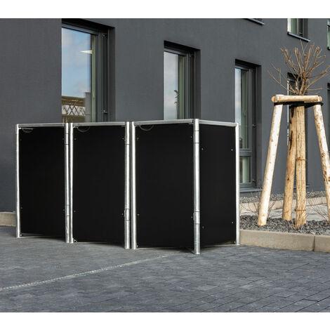 HIDE Hide Mülltonnenbox 240l Kunststoff; 3er Box schwarz 3er Box