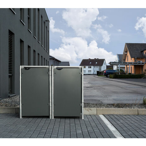HIDE Mülltonnenbox für 2x 140 l grau 2er Box