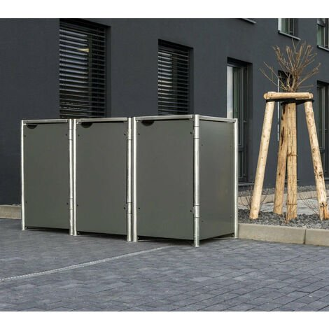 HIDE Mülltonnenbox für 3x 140 l grau 3er Box