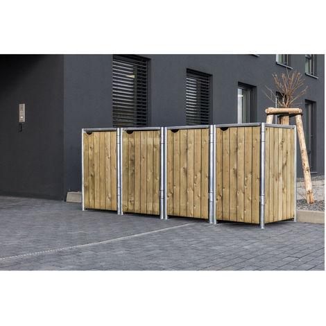 Hide Mülltonnenbox, Mülltonnenverkleidung; Für 4 Mülltonnen 140l Volumen Natur