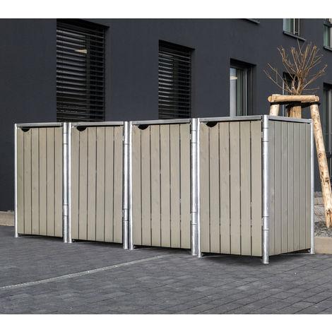 Hide Mülltonnenbox, Mülltonnenverkleidung; Für 4 Mülltonnen 140l Volumen; Natur Grau