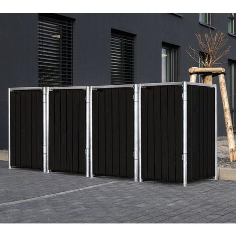 Hide Mülltonnenbox, Mülltonnenverkleidung; Für 4 Mülltonnen 140l Volumen; Natur Schwarz
