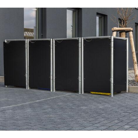 Hide Mülltonnenbox Mülltonnenverkleidung für 4 Mülltonnen 240l Volumen Schwarz