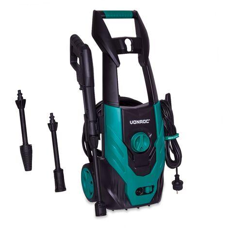 Hidrolimpiadora VONROC 1800W - 140 bar - 420 l/h - Incluye 8m de manguera, tanque de detergente integrado, limpiador de patio, boquillas y accesorios