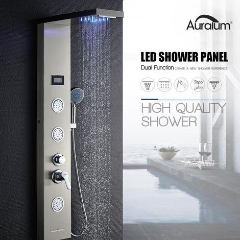 Hidromasaje Columna de Ducha LED con LCD Pantalla Inteligente + 5-Modos de Agua, Panel de Ducha Cepillado Acero Inoxidable
