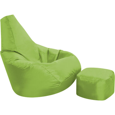 High Back Bean Bag and Footstool Combo - 113cm x 50cm, Indoor Outdoor Water Resistant Chair