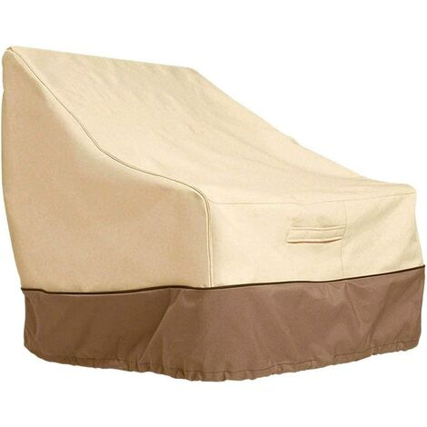 High Back Chair Covers Waterproof Outdoor Garden Reclining Chair Seat Cover Heavy Duty Patio Lounge Deep Seat Cover Large Furniture Covers Lawn Beige Brown (35*38*31inch)
