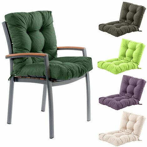 High Back Garden Chair Cushion Breathable Seat Cushion Outdoor Dining Seat Cushion (Khaki)
