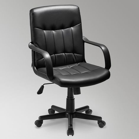 High Back Mesh Desk Swivel Chair for Home Office Task Chair Adjustable Height Executive Chair Recline Mesh Seat(Black) (faux leather)