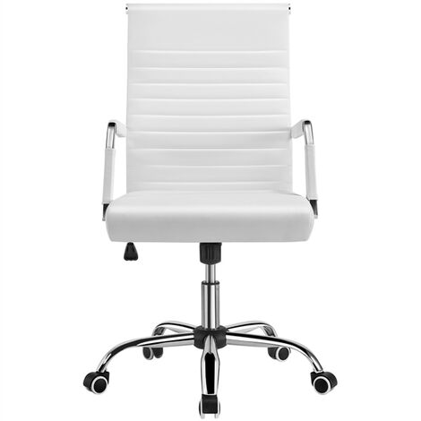 High Back Office Chair PU Leather Adjustable Computer Desk Chair Ergonomic Executive Office Chair with Lumbar Support White