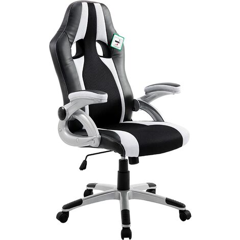 High Back PU Leather & Fabric Racing Sport Swivel Desk Gaming Chair with Adjustable Armrests