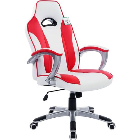 High Back Racing Sport Gamine Style Computer Office Desk PU Leather Swivel Chair in Contrasting Colours