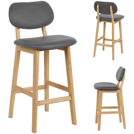 High back single bar chair / bar 2 legs in gray beech