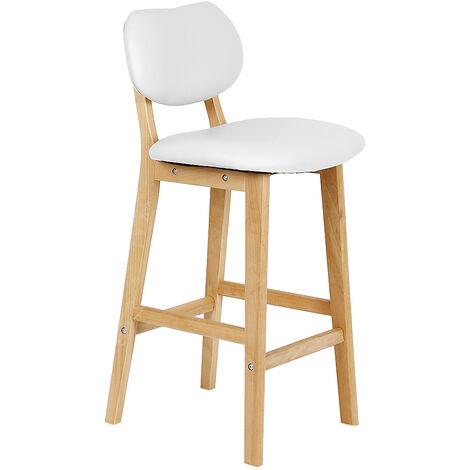 High back single bar chair / bar 2 legs in white beech