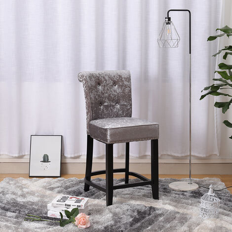 High Bar Stool Studs Velvet Pub Breakfast Kitchen Counter Chair Barstool, Dark Grey
