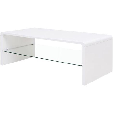 High Gloss Coffee Table White - White