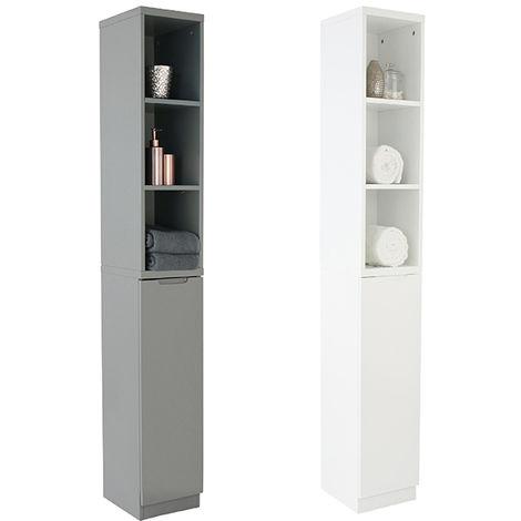 High Gloss Compact Bathroom- Tallboy - White
