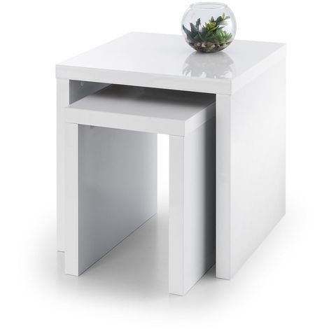 High Gloss Nest Of 2 Side Tables White Contemporary Living Room Furniture