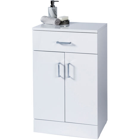 "High Gloss White ""Salerno"" Bathroom Cabinet w/ Soft Close Double Doors"