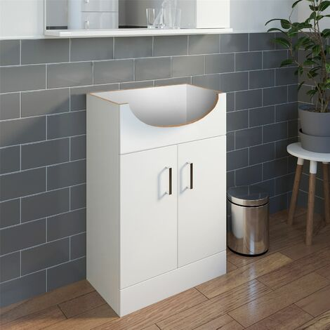 High Gloss White Vanity Unit 550mm Bathroom WC Cloakroom Stylish