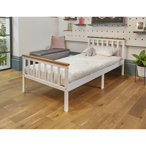 High Head Solid Pine Wood Single Bed Frame With Mattress - white with oak top